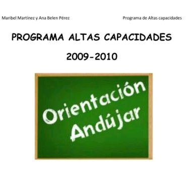 PROGRAMA DE ALTAS CAPACIDADES ORIENTACIÓN ANDÚJAR
